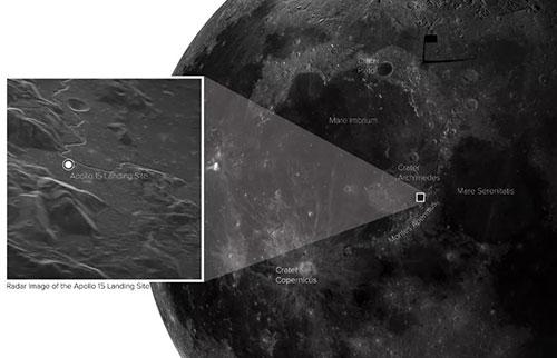 从地球捕获的图像中,阿波罗15号登陆点非常清晰