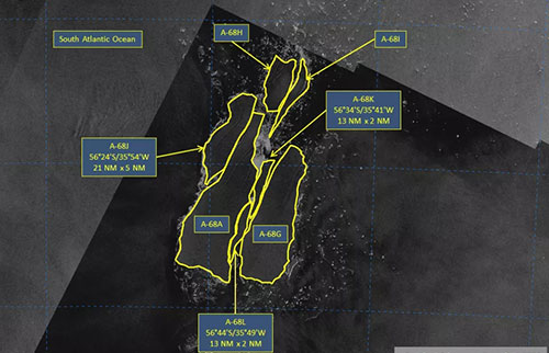 世界上最大的冰山破碎成十几块