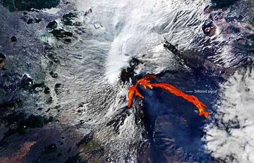 从太空看到埃特纳火山的火热爆发